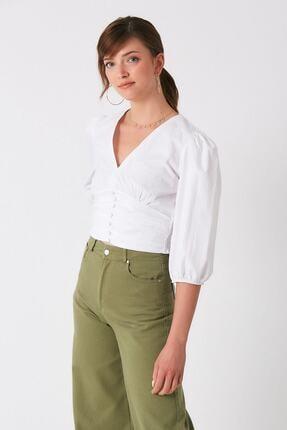 Robin Kadın Beyaz Önü Büzgülü Bluz