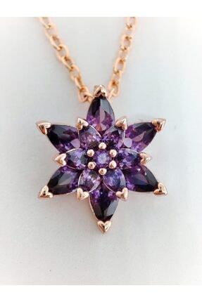 Aurora Jewelry Kadın 925 Ayar Gümüş Taşlı Rose Gold Kristal Taşlı Mor Lotus Çiçeği Kolye