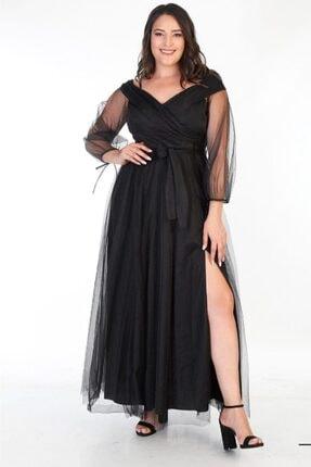 Truva XXL Büyük Beden Kadın Giyim Abiye Elbise Yırtmaçlı Tül Detaylı Siyah