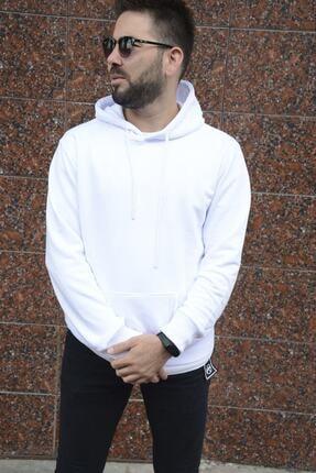 HUMEN Erkek Beyaz Uzun Kollu Kapüşonlu Üst Kanguru Cepli Beyaz Polar Sweatshirt