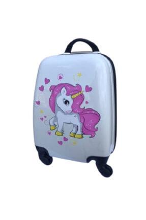 ENASHOP Çocuk Valizi Seyahat Çantası Unicorn Orta Boy Beyaz Renk