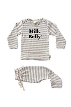 Milk & Muffin Ecru Zemin Antrasit Çizgili Uzun Kollu T-shirt Ve Pantolon