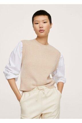 MANGO Woman Kadın Açık/Pastel Gri Gömlek Aplikeli Örgü Kazak