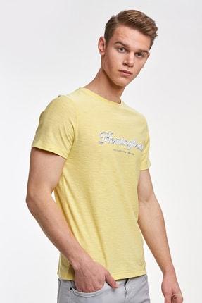 Hemington Erkek Sarı Nakışlı Bisiklet Yaka Tshirt