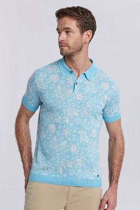 Hemington Erkek Turkuaz  Çiçek Desenli Polo Yaka T-shirt