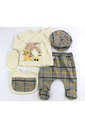 VERONA TARZ Yeni Sezon Kasketli Tavşan Erkek Bebek 5li Hastane Çıkış Seti Yenidoğan Kıyafeti
