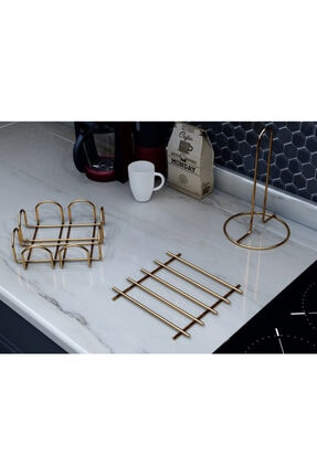 ALSANADOLU Havluluk Nihale Yuvarlak Peçetelik Isıya Dayanıklı Gold Seri 3'lu Mutfak Otel Servis Hazırlık Seti