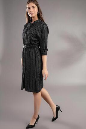 Pattaya Kadın Çizgili Midi Boy Simli Gömlek Elbise Y19w109-30738