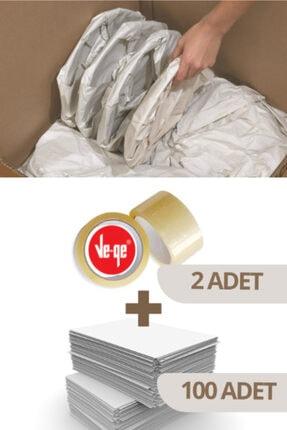 Varbifırsat 40x60 Tabak - Bardak Sarma Taşıma Taşınma Paketleme Kağıdı 100 Adet - 2 Adet Ve-ge (FİL) Koli Bandı