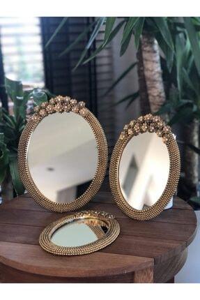 MALKOÇ HOME 3'lü Papatyalı Taşlı Duvar Ayna Seti Altın