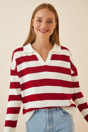 Happiness İst. Kadın Kırmızı Beyaz Çizgili Polo Yaka Triko Kazak PN00055
