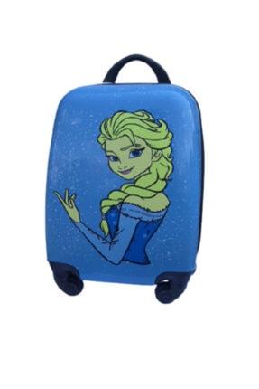 ENASHOP Çocuk Valizi Seyahat Çantası Kraliçe Elsa Orta Boy Mavi Renk