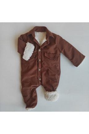 ALİSYUM %100 Pamuklu Kışlık Bebek Tulum Içi Yün Peluş Çocuk Tulum Bebek Kadife Tulum