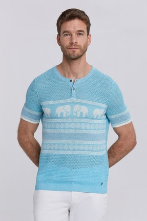 Hemington Erkek Turkuaz Keten Pamuk Triko T-shirt