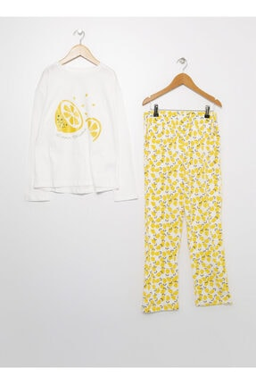 LİMON COMPANY Limon Ekru Bisiklet Yaka Kız Çocuk Desenli Pijama Takımı