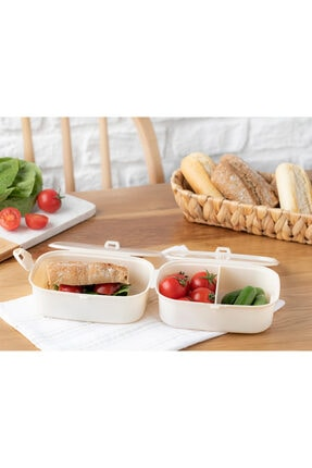 English Home Trendy Plastik 3 Bölmeli Lunch Box 15x10 Cm Bej