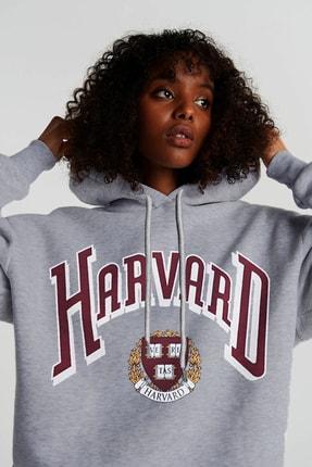 Millionaire Kadın Gri Melange Harvard Oversize Kapşonlu Kanguru Sweatshirt