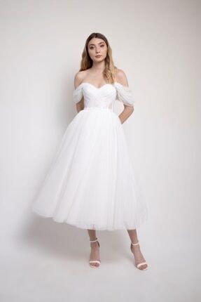 Lenta Moda Kadın Beyaz Puantiyeli Midi Boy Abiye Elbise