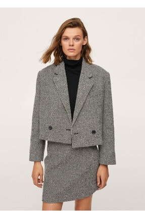 MANGO Woman Kazayağı Desenli Yün Blazer Ceket