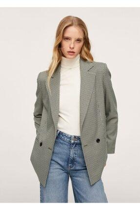 MANGO Woman Kruvaze Kesimli Kareli Blazer Ceket