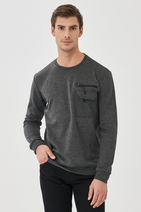 AC&Co / Altınyıldız Classics Erkek Gri Standart Fit Günlük Rahat Bisiklet Yaka Spor Sweatshirt