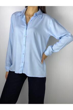 ELBİSENN Kadın Bebe Mavi Basic Pamuklu Kumaş Gömlek
