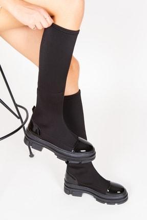 Alessia Shoes Kadın Siyah Streç Rugan Detay Çizme