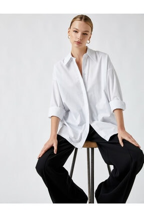 Koton Uzun Kollu Oversize Gömlek Pamuklu