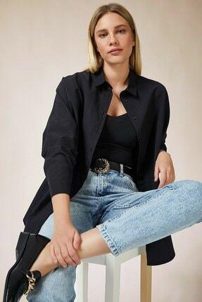 candybia Kadın Siyah Oversize Uzun Basic Gömlek