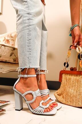 Limoya Kadın Bebe Mavi Örgü Detaylı Topuklu Sandalet