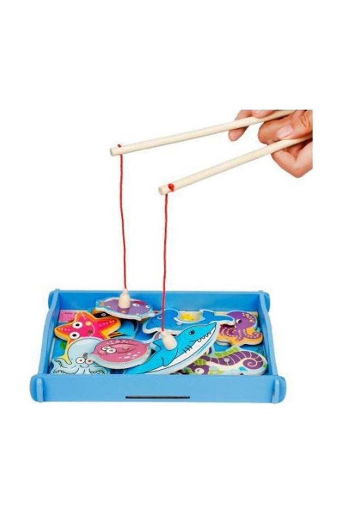 WoodyLife Ahşap Çocuk Oyuncak Balık Tutma Eğitici Zeka Geliştiren Oyuncak 1