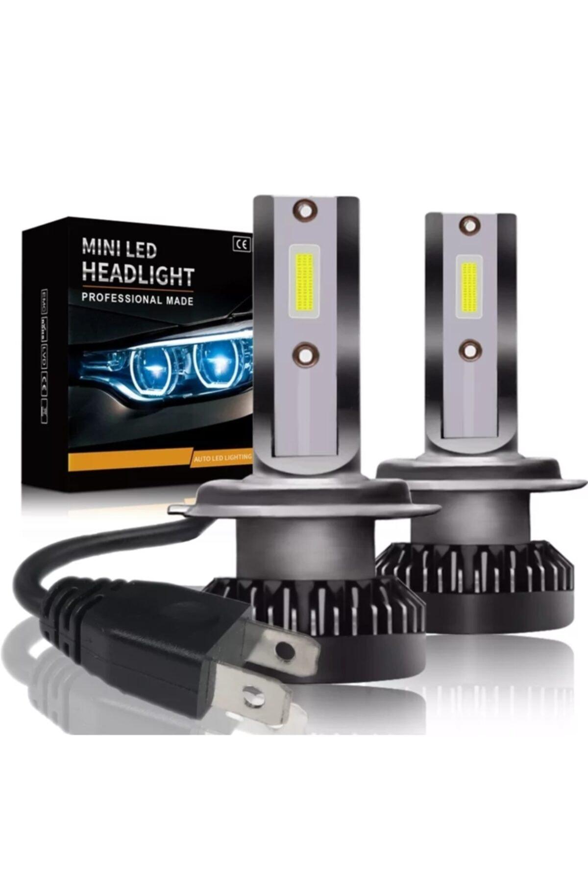 Xenon Mini Zenon H7 Led 2 Adet Şimşek Etkili Led Zenon 8000 Lümen 38 W Süper Güçlü Beyaz Işık 1