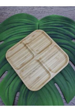 Paçi Bambu 4 Bölmeli Kahvaltılık Çerezlik Sunum Tabağı