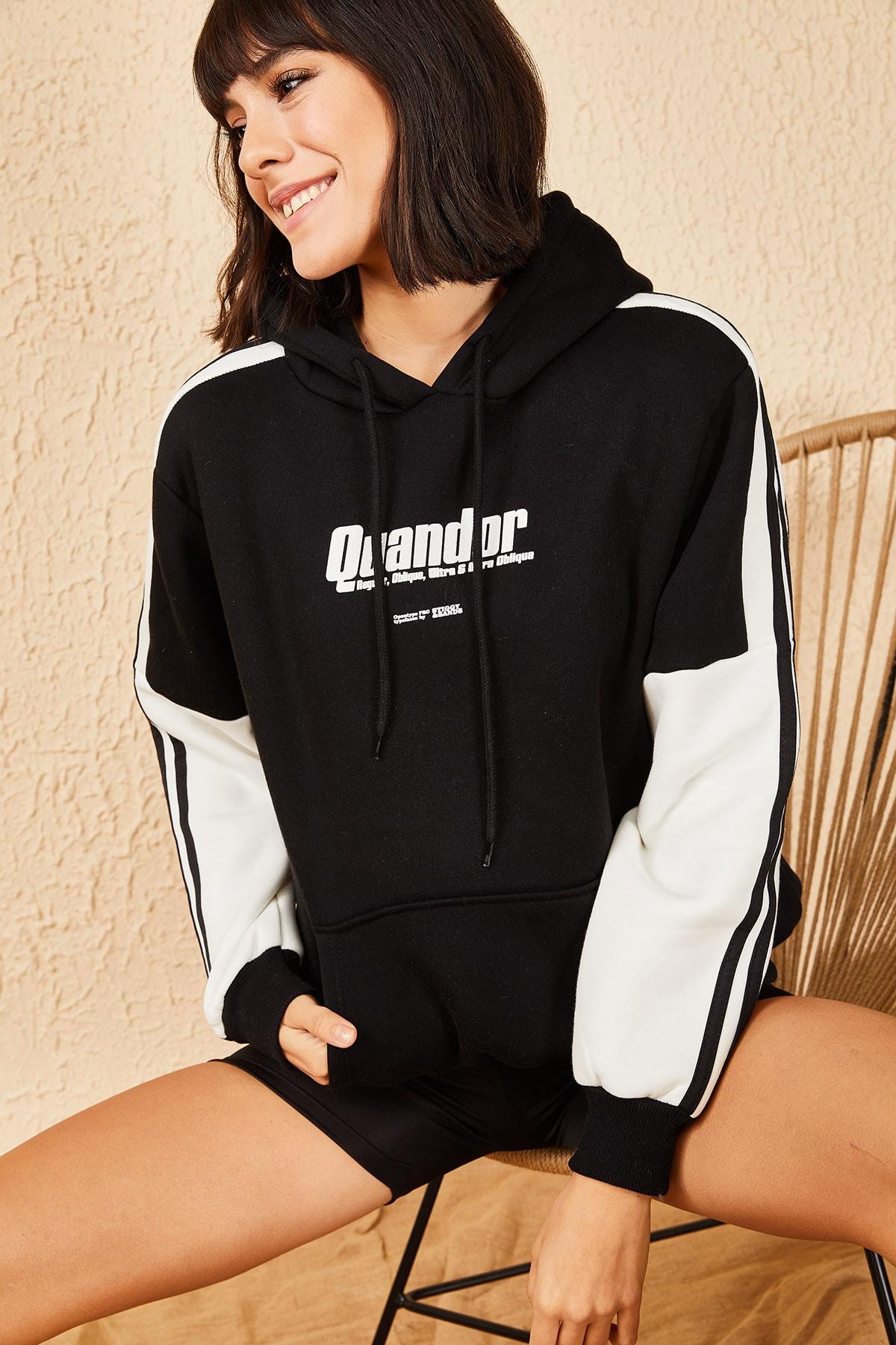 Bianco Lucci Kadın Siyah Quandor Baskılı İçi Pamuklu 3 İplk Sweatshirt 10171011