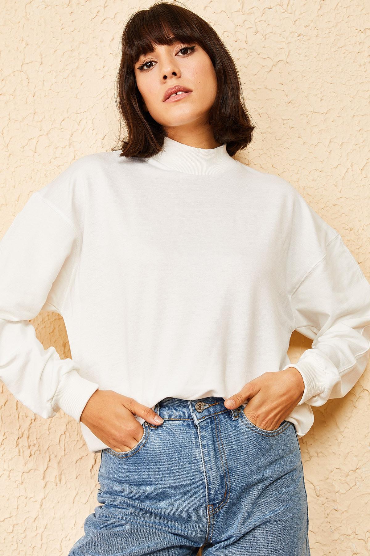 Bianco Lucci Kadın Beyaz Yarım Balıkçı Sweatshirt 10161066