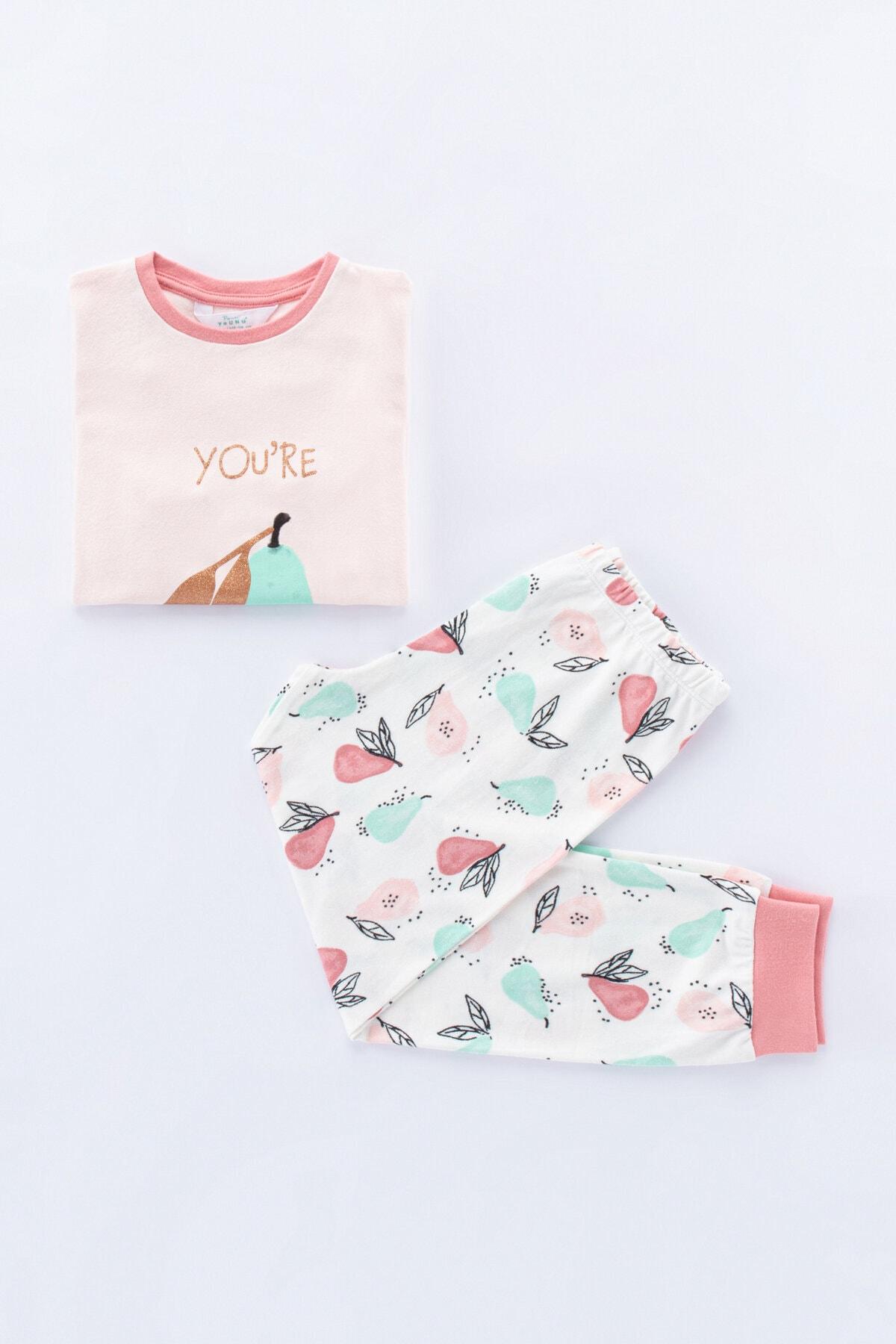 Penti İnci Beyaz Kız Çocuk Pear Termal 2Li Pijama Takımı