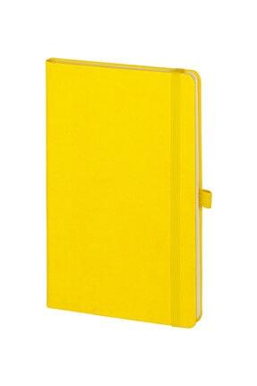 PULKO Promosyon Promosyon Klasik 224 Sayfa Termo Suni Deri Kapak Çizgili Not Defteri 13 X 21 Cm, Limon Sarı