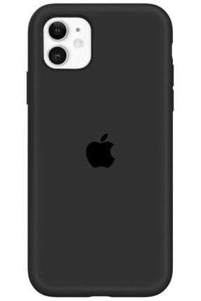 Cekuonline Iphone 11 Logolu Lansman Kılıf Altı Kapalı Iç Kısmı Kadife - Siyah