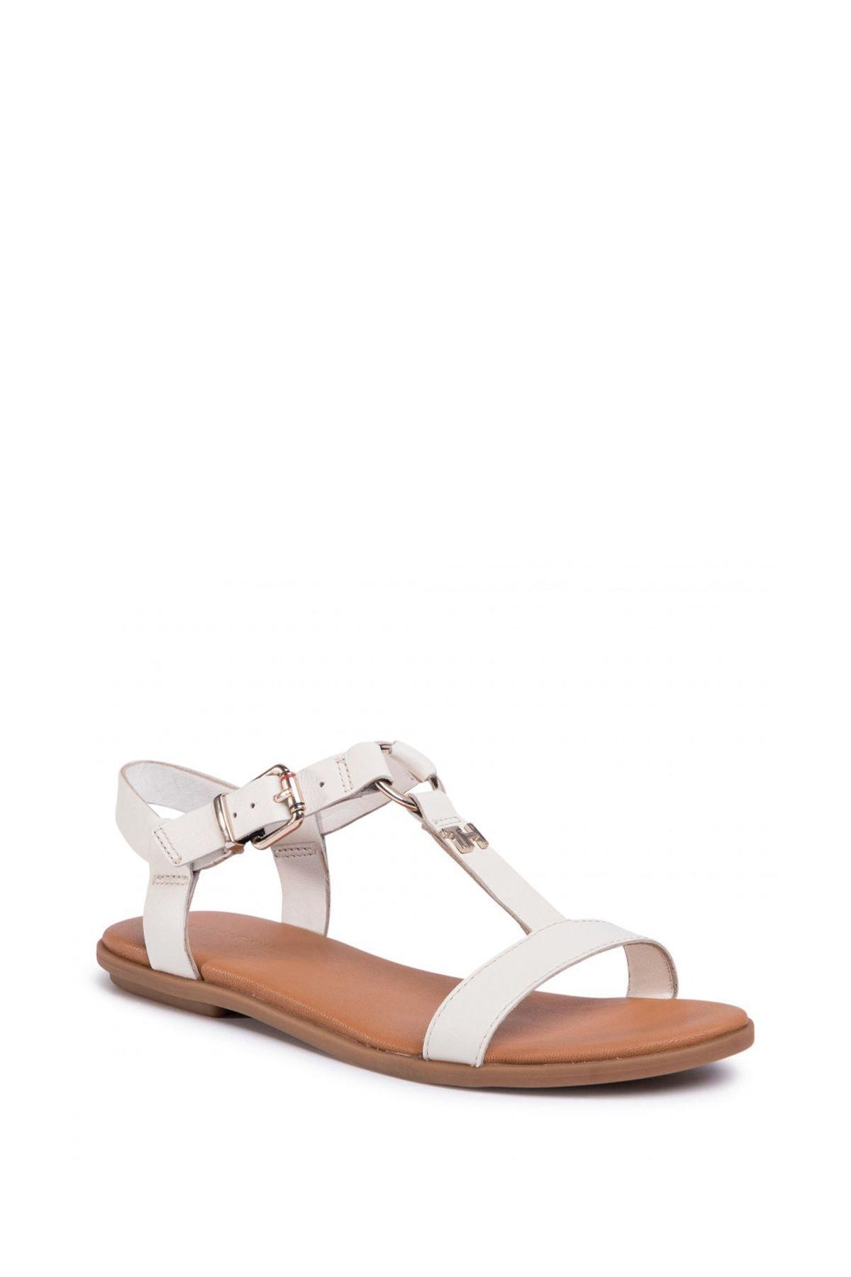 Tommy Hilfiger Kadın Ekru Feminine Leather Flat Sandalet Fw0fw04882 1