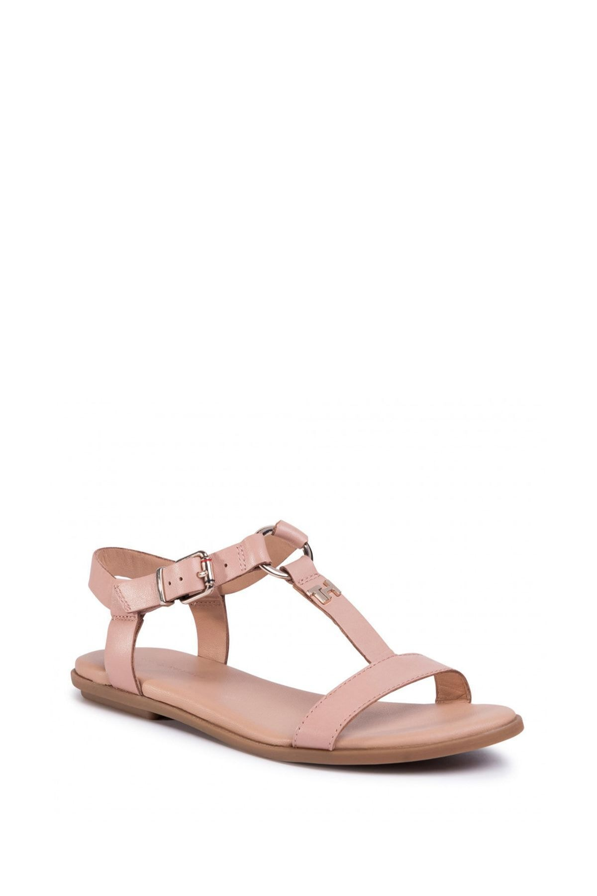 Tommy Hilfiger Kadın Bej Feminine Leather Flat Sandalet Fw0fw04882 1