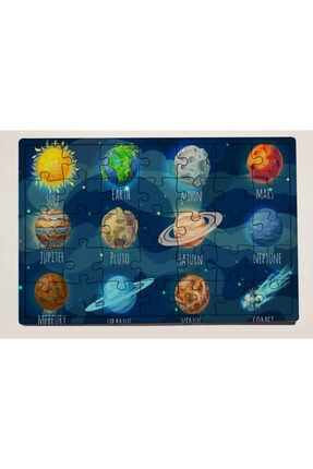 meyuhome Uzay Tasarımlı 35 Parça Ahşap Puzzle Yapboz