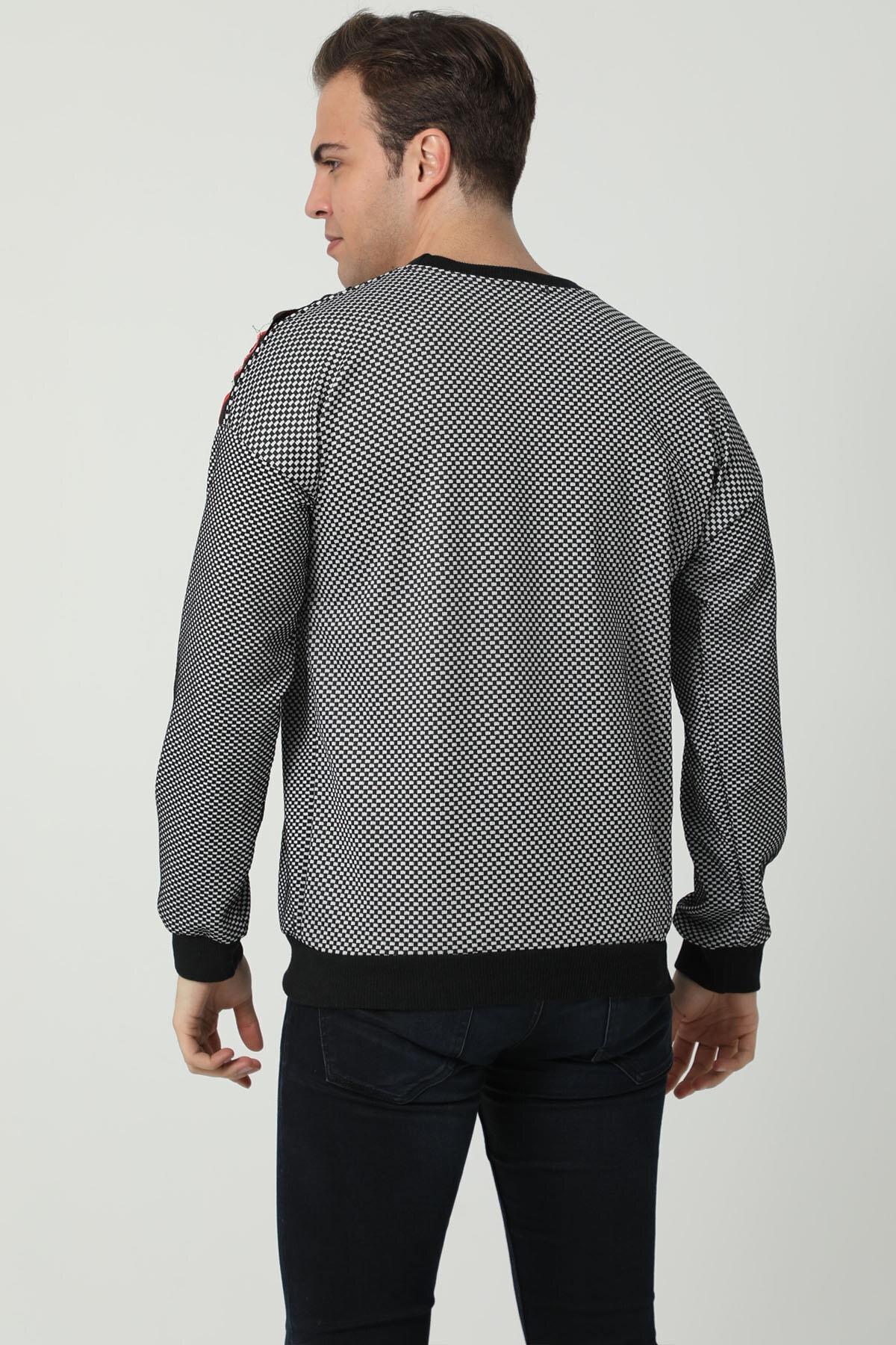 İzolli Erkek Siyah Uzun Kollu Bisiklet Yaka Omuz Şeritli Sweatshirt 2