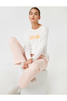Koton Kadın Yetişkin Pamuklu Baskılı Pijama Takımı