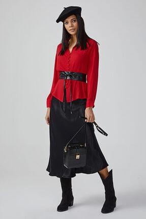 Gusto Kadın Kırmızı Gömlek Yaka Baskı Düğmeli Bluz 20KG009525