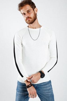 Lafaba Erkek Beyaz Kolları Şeritli Triko Kazak