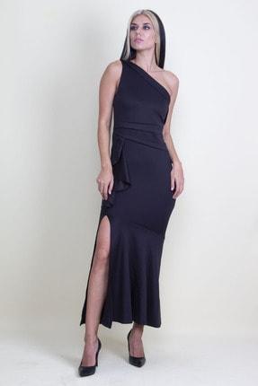 Şans Kadın Siyah Volan Detaylı Tek Omuz Abiye Elbise