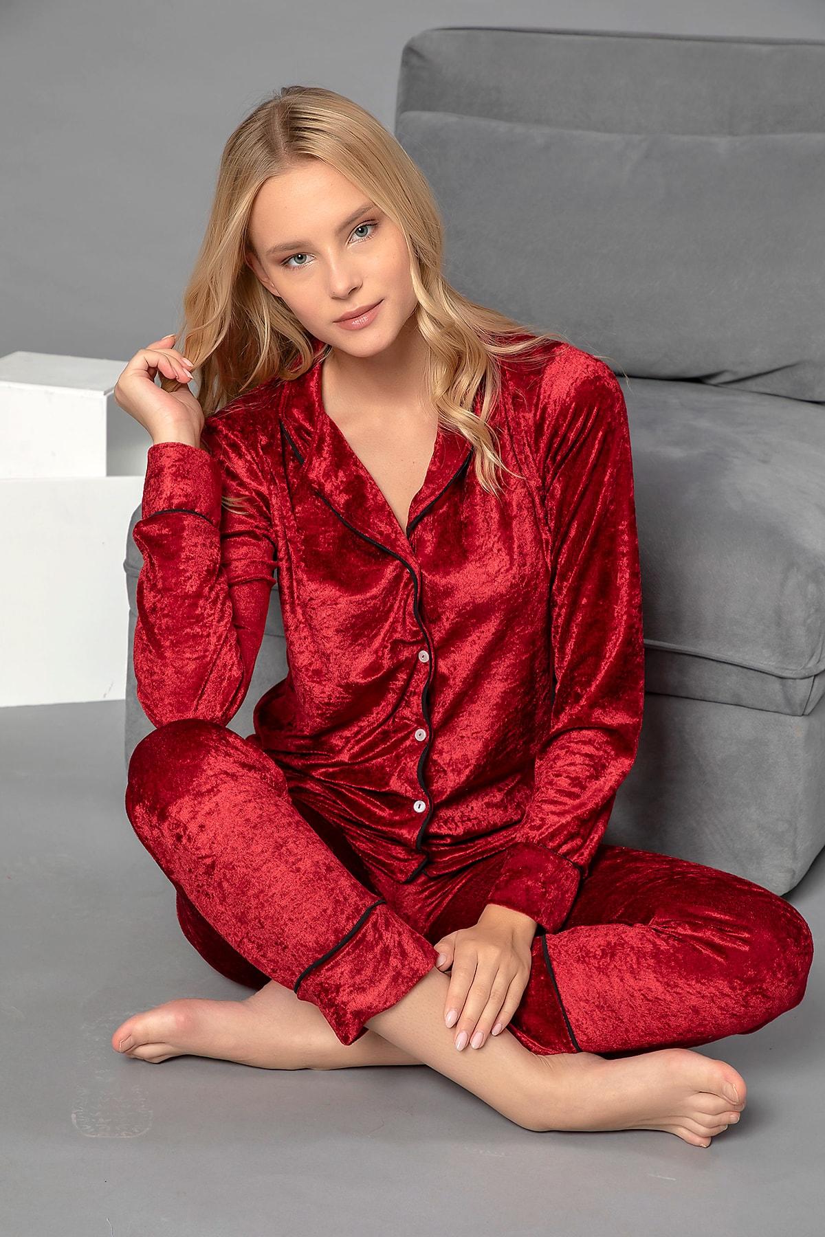 ELİTOL Kadın Bordo Düğmeli Kadife Pijama Takım