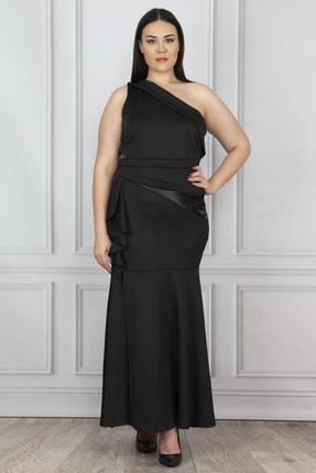 Şans Kadın Siyah Volan Detaylı Tek Omuzlu Elbise 65N19638
