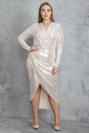 Şans Kadın Somon Payet Bel Detaylı Elbise 65N19612