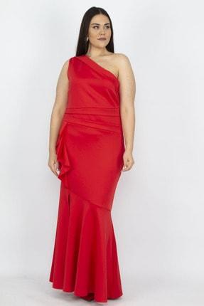 Şans Kadın Kırmızı Tek Omuzlu Volan Detaylı Elbise 65N19471
